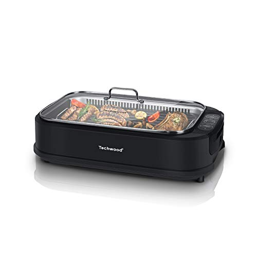 Indoor Smokeless Grill Techwood 1500W Electric BBQ Grill with Tempered Glass Lid, Compact & Portable Non-stick BBQ Grill with Turbo Smoke Extractor Technology, LED Smart Control panel