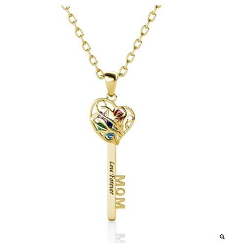 Collar familiar personalizado Collar con nombre grabado y piedra de nacimiento Collar con colgante de llave de corazón para mujer(Dorado 22)