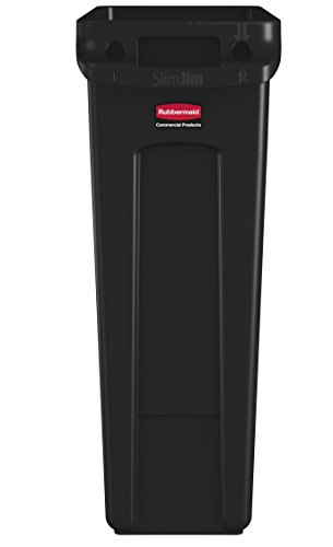 Rubbermaid Commercial Slim Jim Receptacle with Venting Channels, Rectangular, Plastic, 23 Gallons, Black (FG354060BLA) (1 Pack)