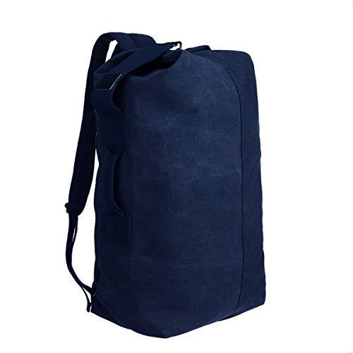 JOSEKO Segeltuch Rucksack,Seesack mit großer Kapazität Herrenrucksack Umhängetasche, Klettertasche, Geeignet für Schulreisen Wandern (Blau)