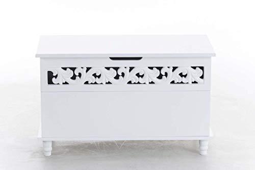 CLP Truhenbank Millie mit aufklappbarem Deckel   Sitzbank im Landhausstil   Wäschetruhe mit floralen Elementen im Landhausstil, Farbe:weiß - 3