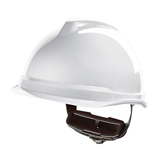 Casco de Protección MSA V-Gard 520 con Ajuste por Trinquete FasTrack - Casco de Trabajo Casco de Seguridad Casco de Construcción, Color: Blanco