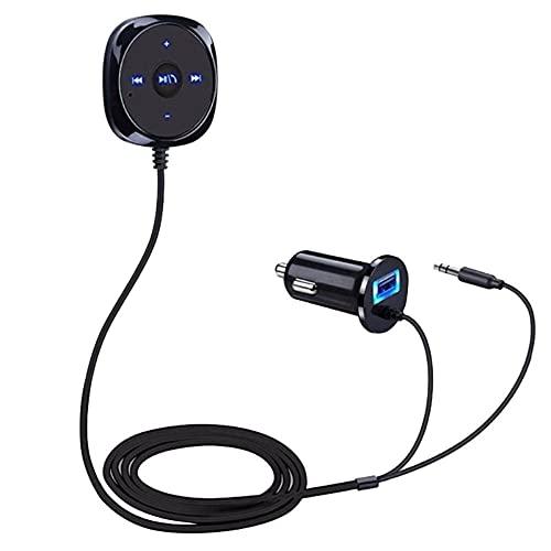 Kit Vivavoce Bluetooth Auto, Ricevitore Audio Wireless con Built-in Microfono e 3.5mm Aux Cavo, Auto Ricevitore Audio Musicale Caricatore USB