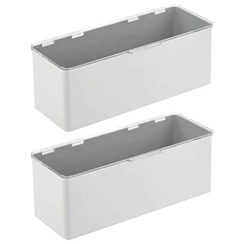 ART OF FIRE Stackable Plastic Kitchen Food Storage Bin Box - 2 Pack - Light Gray