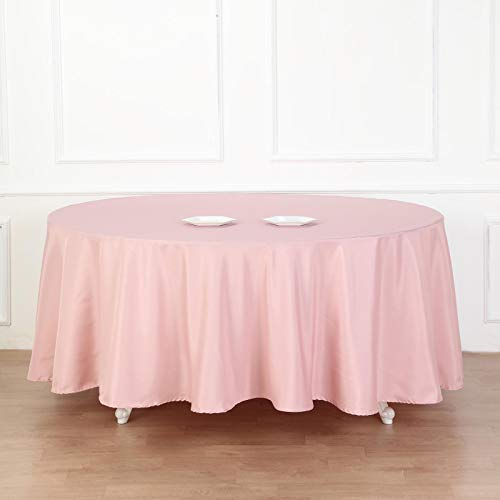 BalsaCircle 10 pcs 108 inch Dusty Rose Round Polyester Tablecloths Fabric Table Cover Linens for Wedding Party Banquet Reception Events Kitchen Dining