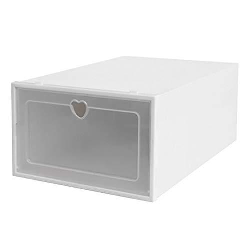 DDyna Caja de Zapatos de plástico Transparente Caja de Almacenamiento de Zapatos Caja de Zapatos Caja de Zapatos Caja con Tapa Cajón Almacenamiento de Zapatos Artefacto Engrosamiento - Blanco