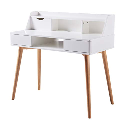 Versanora Creativo White Work Study Table Desk with Storage Drawer Shelf Natural Finish for Living Room Home and Office