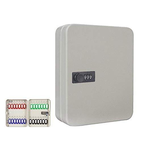 Alarmclocker8B Caja de Almacenamiento portátil Multifuncional,Armario para Llaves con Cerradura,Caja de Seguridad,fácil de Instalar en casa,28Keys Blanco montado en la Pared
