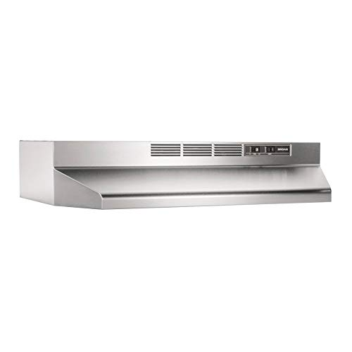 Broan-NuTone 413004 Stainless Steel Ductless Range Hood Insert with Light Exhaust Fan for Under Cabinet, 30-Inch