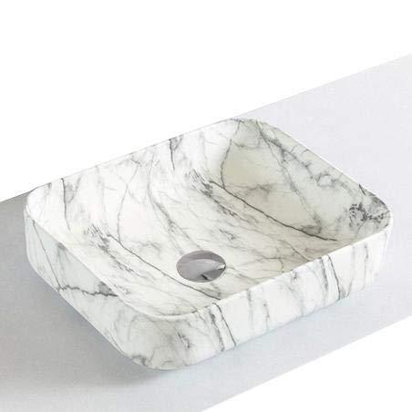 Lave-mains à poser en céramique sanitaire KW6127-50 x 39 x 13 cm - Couleur en option, Bonde Pop-Up:Sans bonde Pop Up, Couleur:Aspect marbre blanc mat