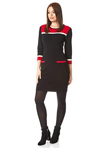Roman Originals damska sukienka z dzianiny z blokami kolorów – damska jesień zima inteligentna codzienna odzież biurowa do codziennego noszenia z długim rękawem do kolan dzianinowa kieszeń sweter sukienka