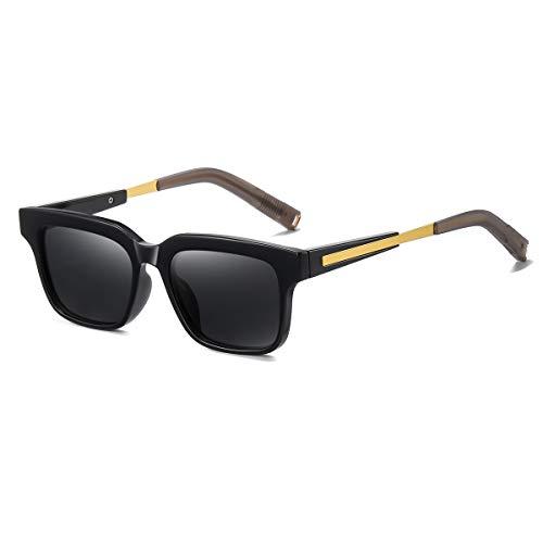 Gafas de sol polarizadas retro para hombre y mujer cuadradas, protección UV400, para conducir, ciclismo, viajes, pesca, al aire libre, gafas, Black,