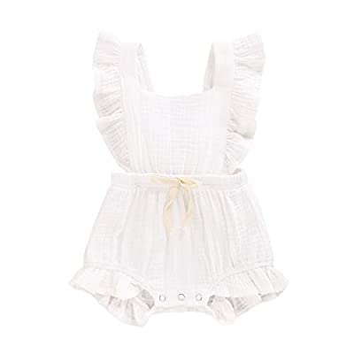 YOUNGER TREE Toddler Baby Girl Ruffled Sleeveless Romper Casual Summer Jumpsuit Cotton Linen Clothes (Milk White, 3-6 Months)