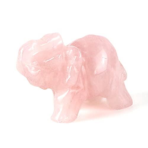 Rosenquarz Elefant Figur,Rose Quartz Mineralien Handschmeichler Stein, Chakra Kristalle Heilsteine Steine, Chakra Kristalle Heilsteine Steine,Elefanten Deko,Elefanten Geschenke 1.5 inch