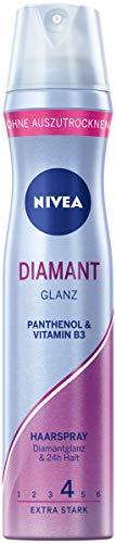 NIVEA Diamant Glanz Haarspray Extra Stark (250 ml), pflegendes Styling Spray mit Panthenol & Vitamin B3, Haarspray für glamouröse Stylings mit 24h Halt