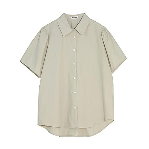 Camisa para Mujer Botón de Color sólido Resistente al Encogimiento Cuello Vuelto Retro Tops Formales de Manga Corta Blusas Ligeras