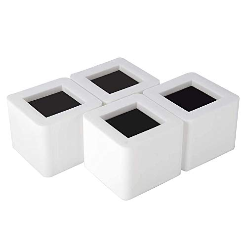 Iriisy 3 Inch Bed Risers White Square Heavy Duty Furniture Risers Great for Dorm Bed, Couch, Sofa, Desk and Armchair (4 Pack)¡