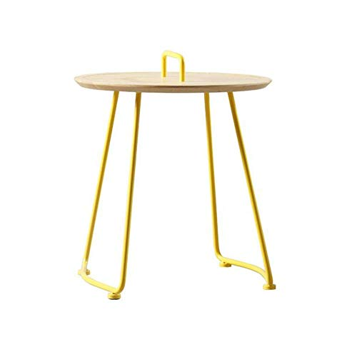 BaiHogi Bed Table, Tables Wooden Side Table with Handle, Accent Small Coffee/Snack Table, Round Metal End Table for Outdoor Or Indoor Use, H 19.68' XD 24.01', Yellow Coffee Table