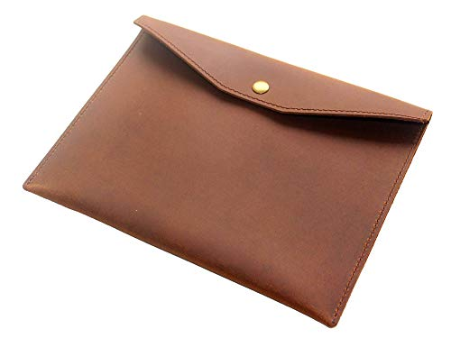 Genuine Leather Envelope Folder, A5 Size Papers File Documents Holder, Handmade Portfolio Work Essential, Business Gift, Brown