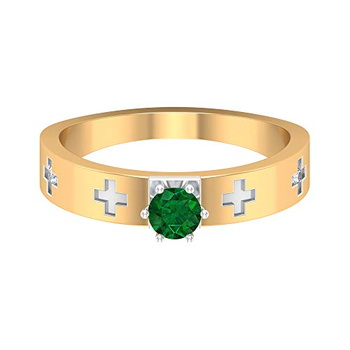 Rosec Jewels 14 quilates oro blanco redonda Green Emerald Diamond