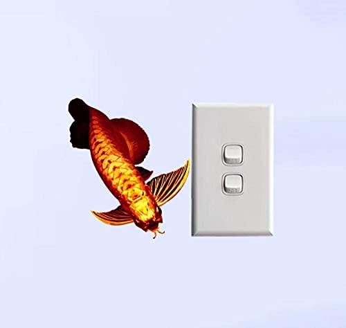 Animal Pez Dorado Luz Pvc Accesorios De Decoración Del Hogar Etiqueta Engomada Del Interruptor De Pared Calcomanía 2 Piezas