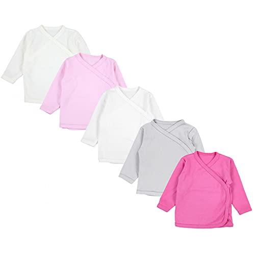 TupTam TupTam Unisex Baby Langarm Wickelshirt 5er Set, Farbe: Mädchen, Größe: 74