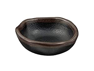 "Japanese Style Tenmoku Round Melamine Small Sunomono Bowl Sauce Dish 2 fl oz Shallow Bowl 3"" x 1.25""H Black Stone Matte Finish"