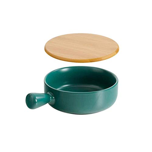 Sywlwxkq Soup Bowl Bowls with Handle Ceramic Anti-Scald with Lid Wooden Plain Solid Color Microwave Oven-Green-650ML