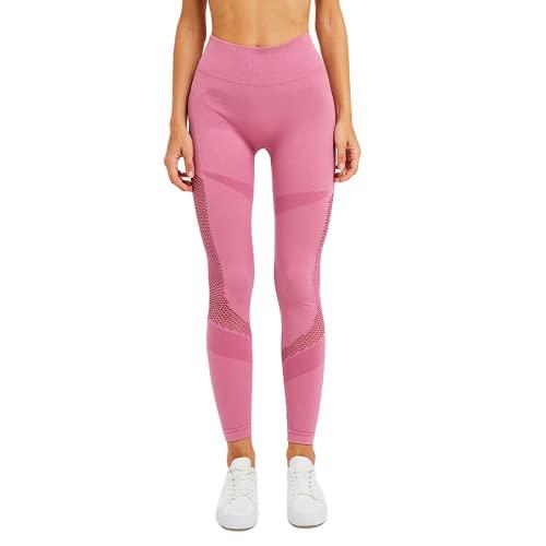 QTJY Pantalones de Yoga de Cintura Alta para Mujer sin Costuras Push-ups Levantamiento de Abdomen Caderas Leggings Deportivos para Gimnasio Pantalones para Correr al Aire Libre B L