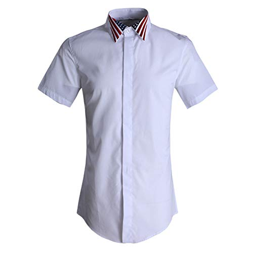 Photo of LIUXING-TUMI Mens Summer Short Sleeve Casual Business Work Shirts Plain Button Down Dress Shirt Teenager University Boys Cotton Shirt Formal Party Team Shirts Size M L XL XXL 3XL