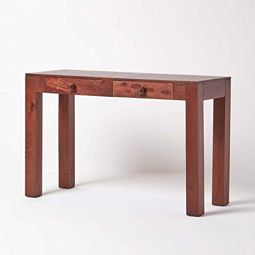 HOMESCAPES - Dakota - Console Hall Table with Drawers - Dark - 100% Solid Mango Hard Wood - (No Veneer) Hand Crafted Furniture