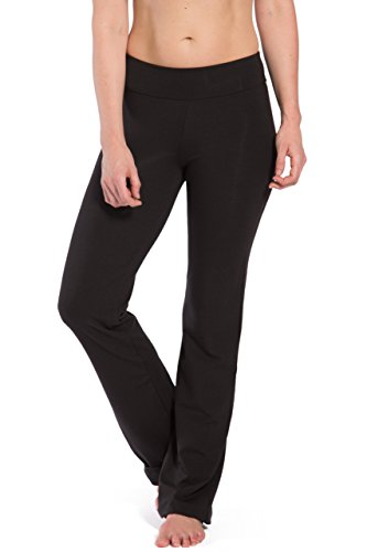 Fishers Finery Women's Classic Bootleg Yoga Pant; Back Pockets (Black, M Petite)