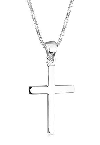 Elli Collar para Mujer, crucifijo religioso básico en plata esterlina