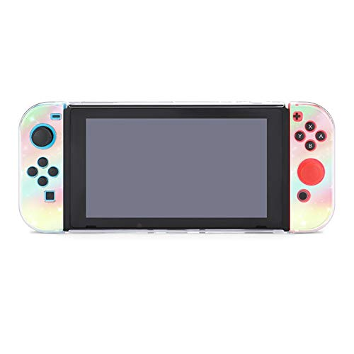 Protective Case Cover for Nintendo Switch Galaxy Rainbow Glitter Star Dockable Case Compatible with Nintendo Switch Console and Joy-Con Controller