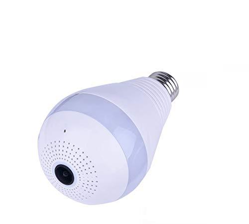 Cámara LED Bombilla VR Lámpara panorámica, Cámara EECOO con 360 grados Cámara panorámica IP inalámbrica Wifi Cámaras ocultas para Home Bombilla LED para Sistema de seguridad para el hogar Cámara Contr