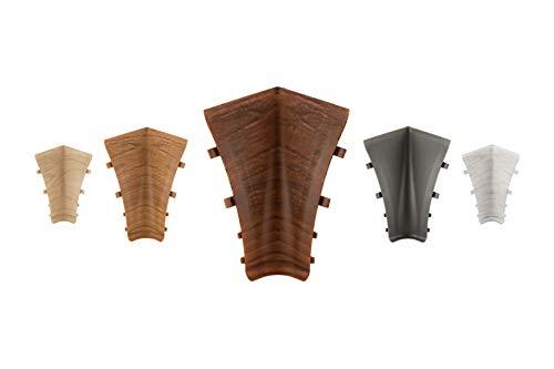LEMAL Innenecken, PVC 70x50mm - Zubehör für Sockelleisten mit Kabelkanal - (0102 Holzoptik grau-beige, 1 Stück) Abschluss Leisten Teppichboden