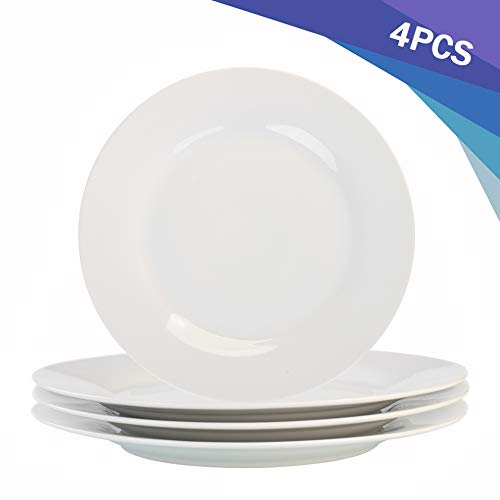 Porcasa White Porcelain Dinner Plates, Round Flat Plates, 10.5 inch, Set of 4