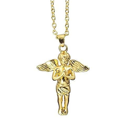 HJURTB Collar con Colgante de ángel con Personalidad, aleación de Alto Grado, Color Dorado Puro, Cadena de eslabones de Hip-Hop, Collar, joyería para Hombres y Mujeres