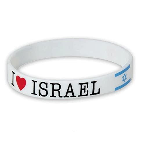 Muñeca de silicona blanca I love Israel bandera suave pulsera de goma recuerdo judío regalo santo apoyo pro israel