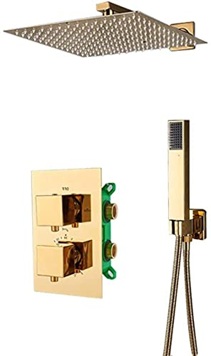 OUWTE Sistema de Ducha, Caja empotrada, termostático, Mezclador de Ducha, Grifo, Ultrafino, Lluvia, Cabezal de Ducha, baño, Mezclador termostático de Ducha, Juego Completo de 12 Pulgadas