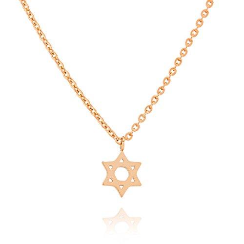 Collar de Estrella de David Selia/Colgante Minimalista en Declaración de Estrella/Cadena de Acero Inoxidable en Aspecto de Cepillado