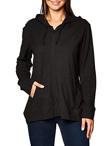 Hanes Women's Jersey Full Zip Hoodie, Black, Medium
