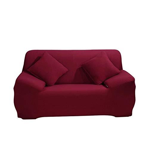 JS One Stretchable 3 Plazas Funda de Sofá Slipcover Couch Protector - (195-230cm) Vino Rojo