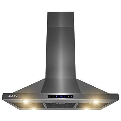 AKDY Island Mount Range Hood - Black Stainless Steel Hood for Kitchen – 3 Speed Professional Quiet Motor - Premium Touch Control Panel - Minimalist Design (36 in.)