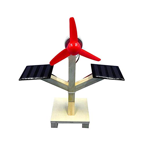 Hztyyier Ventilador Solar de Madera Juguetes DIY Ventilador Solar Científico Doble Placa Solar Modelo físico Experimental Juguete Educación Infantil Ventilador Solar