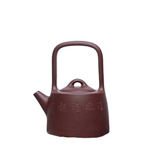 YYFUS Yixing Teapot Handmade Pottery Carved Dongpo Mention Liang Gongfu Teapot Unique Oriental Purple Tea Maker Pot (Color : Purple)