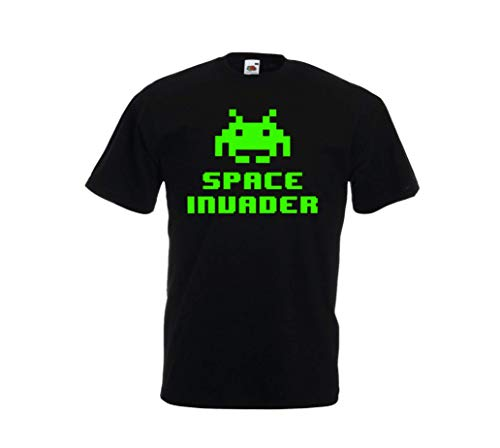 Adult Green Space Invader T-shirt, Fruit of the Loom, S to XXL