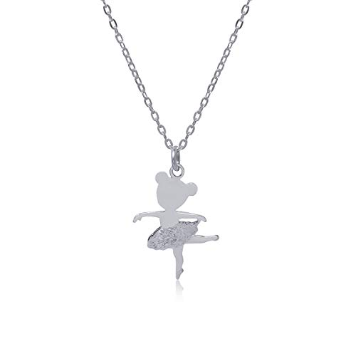 WANDA PLATA Collar Colgante Bailarina Ballet para Niña Mujer Plata de Ley 925, Cadena Incluida con Caja de Regalo, Regalo Primera Comunión