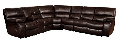 Homelegance Pecos 105' x 117' Leather Gel Manual Reclining Sectional Sofa, Brown