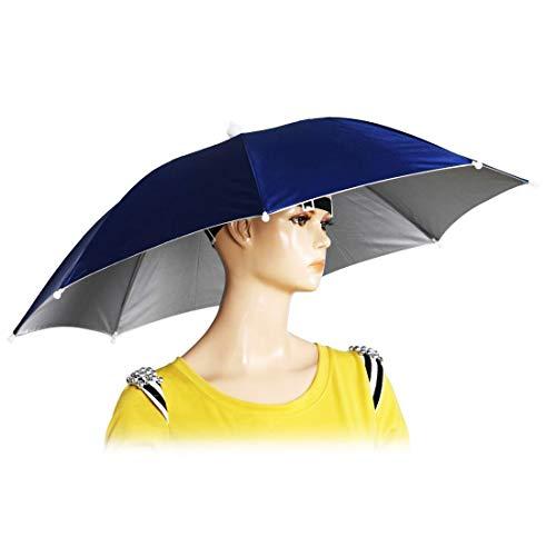 "Chinmor 26"" Diameter Elastic Band Fishing Headwear Umbrella Hat Dark Blue"